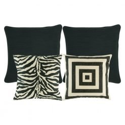 A collection of 4 black and white cushion covers with animal and square prints
