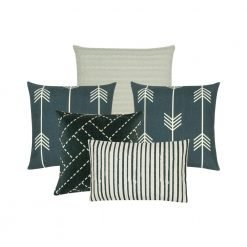 Photo of 5 cushion covers in grey and white colours with stripes and arrow designs