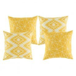 A collection of 4 square gold yellow cushions in geometric, modern patterns