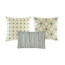 A set of 3 cushion covers with stripes, cross and circle patterns