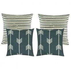 A collection of 4 cushions with stripes and arrow designs