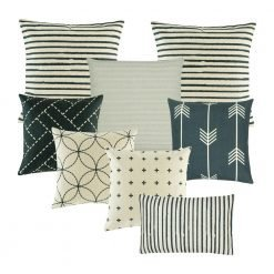 A set of 8 square and rectangular cushion covers with stripes, lines, arrows and cross designs
