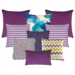 A set of 9 purple cushion covers in solid and chevron patterns