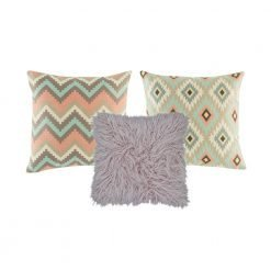A collection of 3 square cushions with lilac, apricot and teal colours