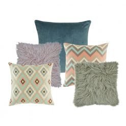 A mix of 5 square cushions with blue, lilac, apricot and teal colours