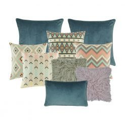 A set of 9 rectangular and square cushions with blue, grey, lilac, teal colours and with diamond and arrow patterns