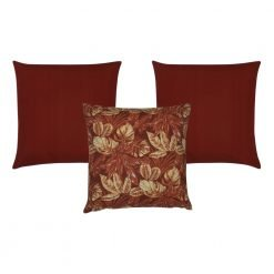Photo of 3 outdoor cushions in red colour and leaf patterns