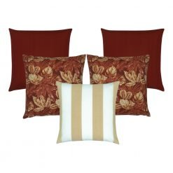 Photo of 5 square outdoor cushions in red and beige colours