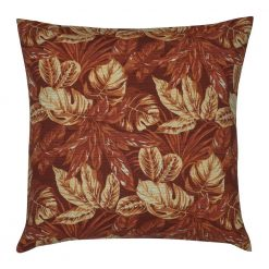 Square red orange russet outdoor cushion cover with leaves