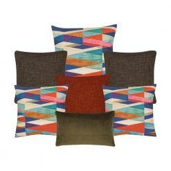 A collection of brown, burnt orange and multi-coloured square and rectangular cushion covers