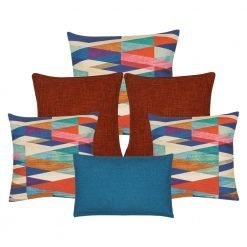 A set of rectangular and square cushions with blue and bunt orange colours