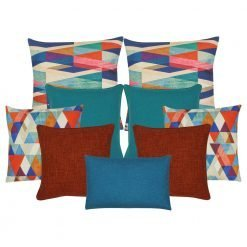 A collection of 9 burnt orange, teal and multi-coloured cushion covers with diamond pattern