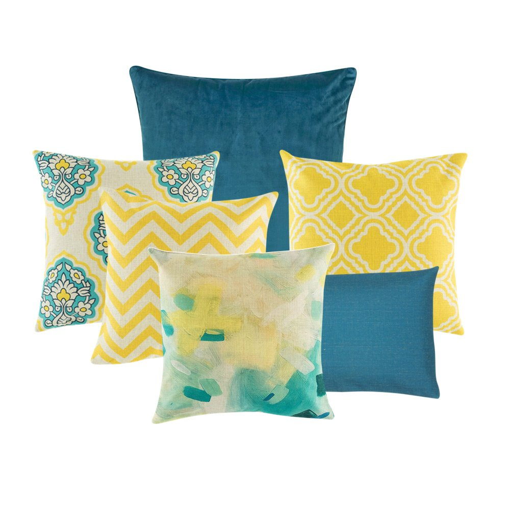 A Collection Of 6 Square And Rectangular Blue And Yellow Cushion Covers  With Diamond And Chevron