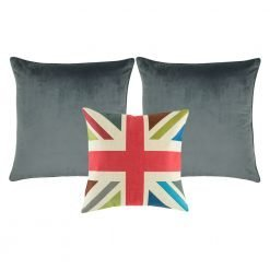 A collection of 3 square cushions with grey and fuschia colours and cross design