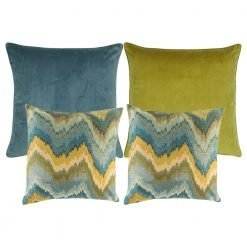 A collection of 4 square cushions with blue and yellow colours