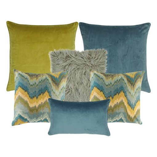 A mix of 6 cushions in grey, blue and yellow colours