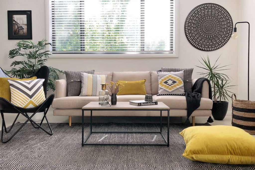 Living room with urban modern style and mustard and black cushions