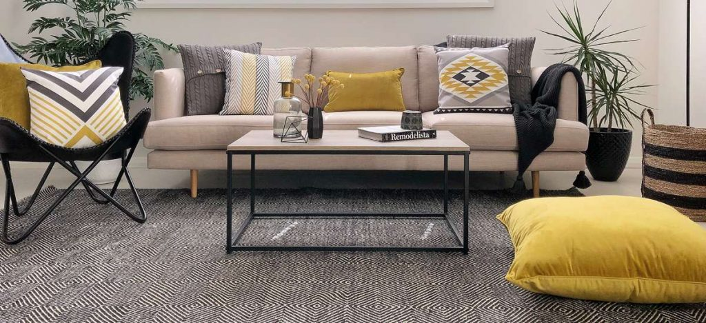Urban modern sstyled scene with mustard black and grey cushions