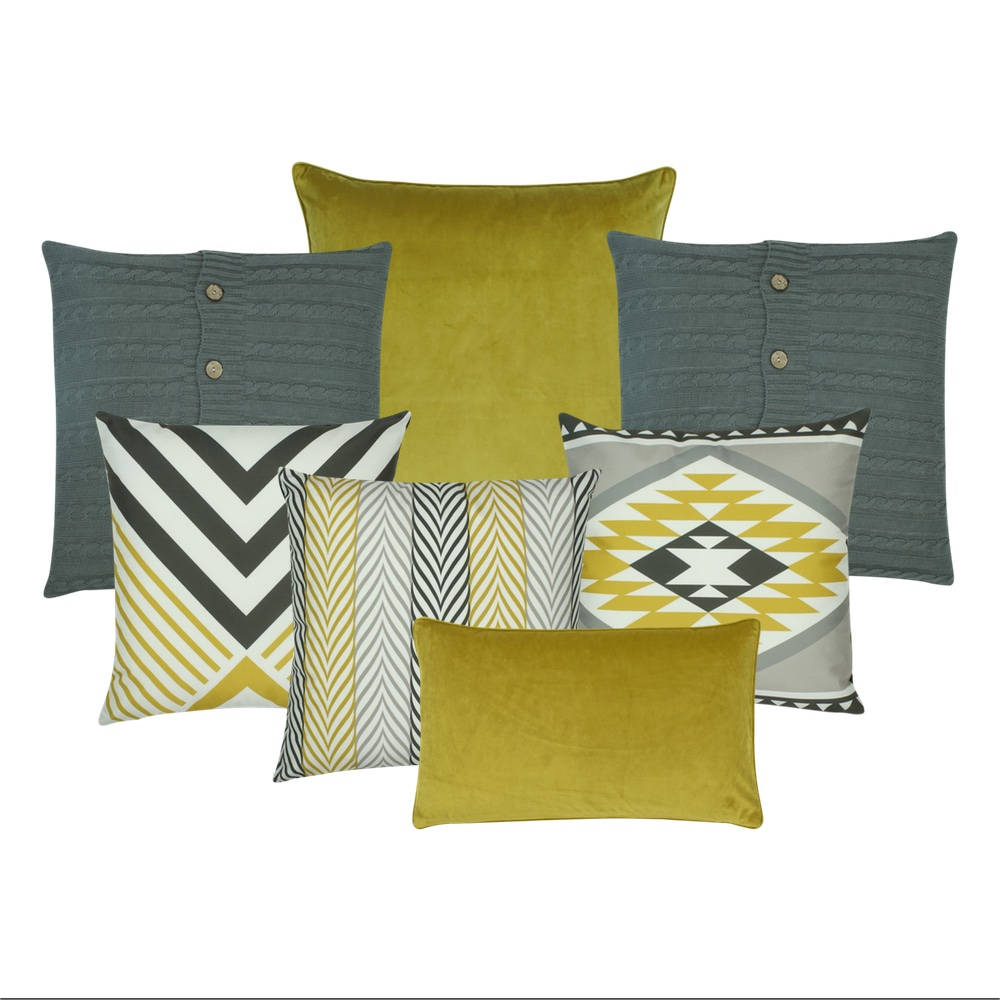 Cushion collection with mustard and grey tones