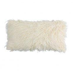 Photo of cream rectangular fur cushion in 30cm x 50cm size