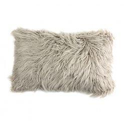 Photo of ecru rectangular fur cushion in 30cm x 50cm size