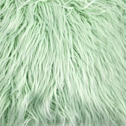 Close up image of 30cm x 50cm rectangular faux fur cushion in green colour