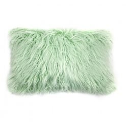 Photo of green rectangular fur cushion cover in 30cm x 50cm size