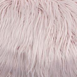 Close up image of 30cm x 50cm pink rectangular faux fur cushion