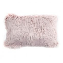 Photo of pink rectangular fur cushion in 30cm x 50cm size