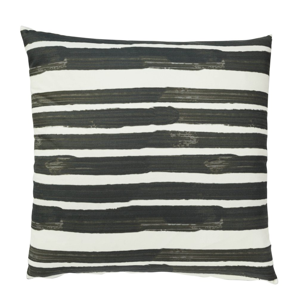 Image Of Outdoor Cushion With Black And White Stripes